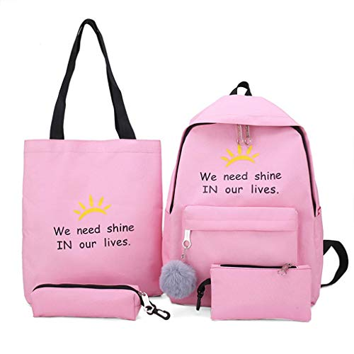 4 Pieces Cute Lightweight Canvas Backpack Casual School Purse Daypack Handbag Bookbag Daypack Set for Teenagers Girls Student with Pink