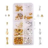 PandaHall 200 Piezas 10 Tipos de fianzas Colgantes Pegamento en fianzas DIY Clip Pinch Bails Resultados de la joyería para Perlas Gemstone Jade y Colgantes de Cristal