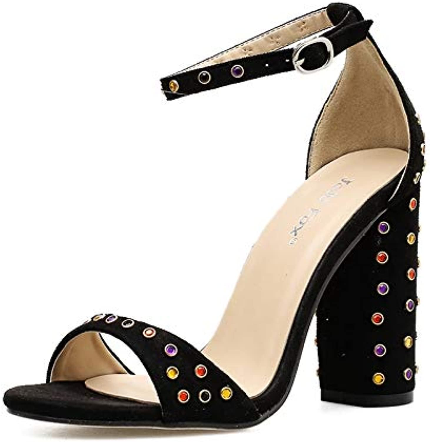 KCatsy Women's Square Heel Sandals Japanese Party High Heels with Rivets