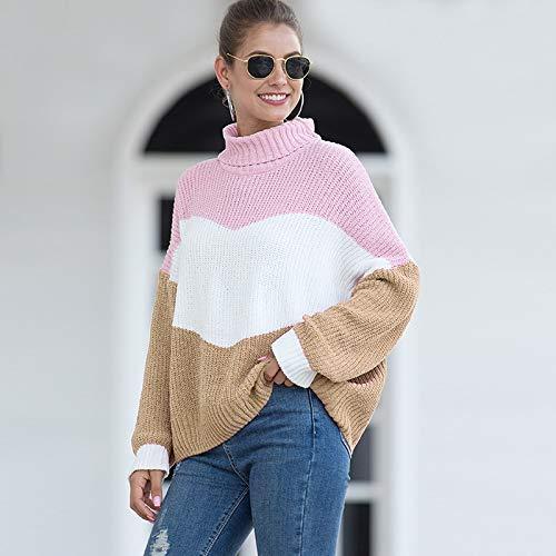 Avsvcb Otoño e Invierno suéter de Comercio Exterior Europeo y Americano suéter de Cuello Alto con Bloqueo de Color de Terciopelo de Chenilla para Mujer