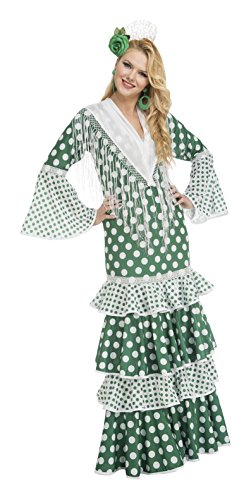My Other Me Me-203868 Disfraz de flamenca feria para mujer, color verde, S (Viving Costumes 203868)
