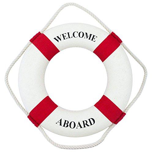 Navyline Dekorations-Rettungsring 45cm maritime Deko groß , Farbe:rot