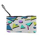 80s estilo patrón de lona monedero viaje maquillaje lápiz lápiz caso con mango efectivo lona cremallera bolsa portátil neceser