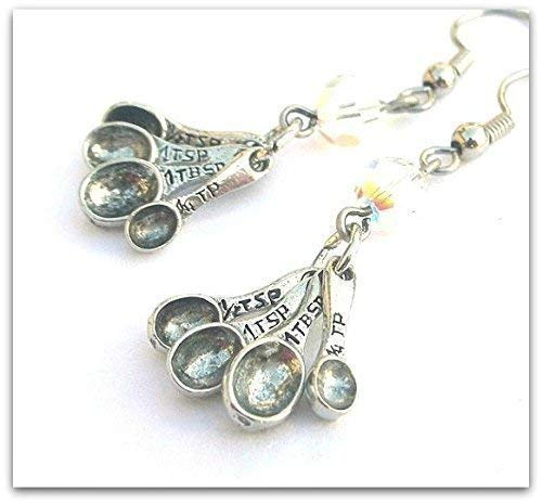 Measuring Spoon Earrings with Austrian Crystal, Baking Gift for Baker or Cook