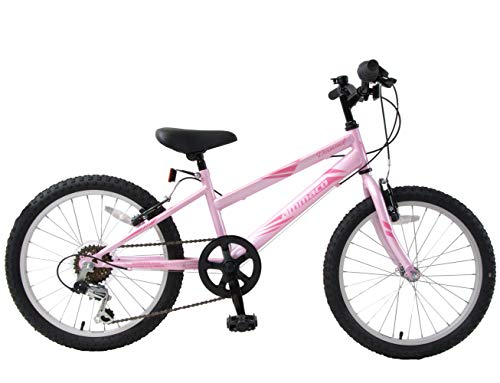 Ammaco. Diamond 20' Wheel Girls Kids Mountain Bike 6 Speed 11' Triangular Frame Barbie Pink Age 7+
