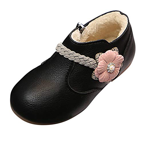 Baby Toddler Girls Boots Fall Winter Warm Shoes 1-6 Years Old Kids Solid Flower Weave Princess Zip Boots Shoes (18-24 Months, Black)