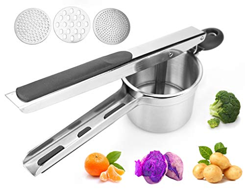 Potato Masher Potato Ricer LESU YK Stainless Steel Manual Potato Masher Large Capacity With 3 Replaceable Discs Can Make Smooth Potato Mash Fruit Puree Vegetable Puree And Baby Food One Pack
