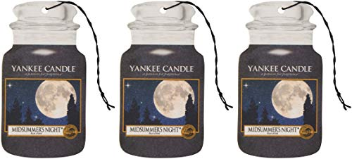 Yankee Candle Car Jar Scented Air Freshener, Midsummer's Night, Three Count