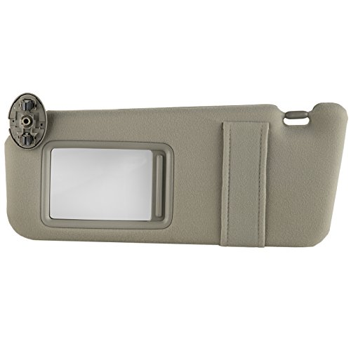 OxGord Sun Visor Driver Side for 07-11 Toyota Camry - Full Assembly Kit with Mirror - Replacement Part Fits Left Drivers Side Without Sunroof and Light, Beige