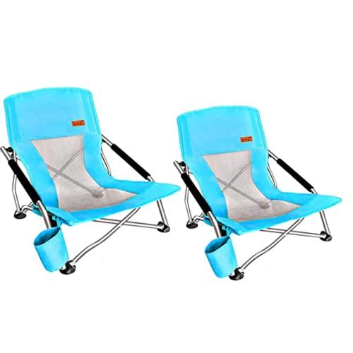 N\C - Set di 2 pezzi di sedia da spiaggia pieghevole all'aperto con portabicchieri poltrona portatile ultraleggera pieghevole sedia da campeggio ultra-leggera zaino sedia