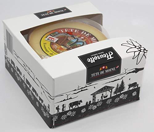 GESCHENKSET KOMPLETT SWISS-MADE MIT HOBEL + HAUBE + KÄSE Tete de Moine CLASSIC Schweizer Mönchkopf Käse Halber Laib ca. 420 g (100g=3,00EUR)