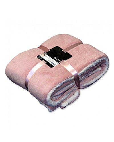 Unique Kuscheldecke Lars - zweifarbig Rosa/Creme - Wohndecke ca. 150x200 cm - Wendedecke aus Polyester - Pflegeleichte Decke
