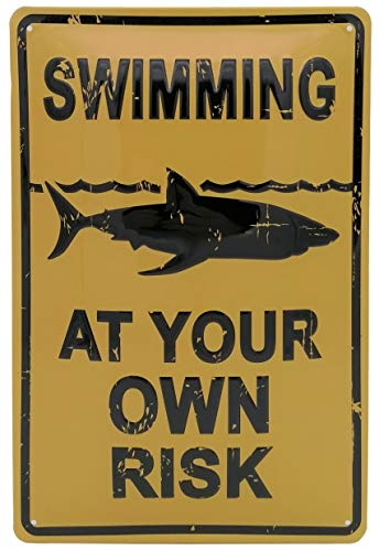 Swimming at Your own Risk - Warn-Hinweis Blechschild 30 x 20 cm, geprägtes Metallschild, Wandschild, Türschild, Dekoration (Indoor)
