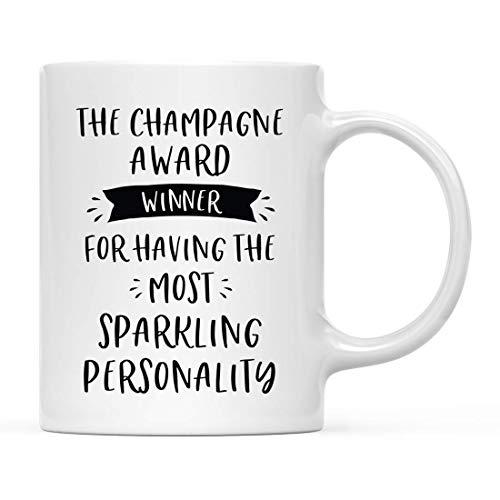 Rael Esthe Ceramic Coffee Tea Mug Lustiges Gag-Geschenk für den Mitarbeiter des Office Office Award, der Champagner-Preisträger, für die prickelndste Persönlichkeit, 1er-Pack, mit Geschenkbox