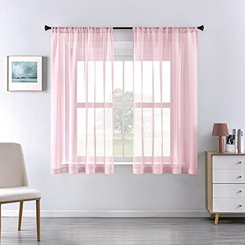 Pink Sheer Curtains for Girls Room Decor 63 Inch Length 2 Panels Set Solid Light Pink Window Curtains for Nursery Baby Bedroom Rod Pocket Kids Curtains 63 Inches Long for Bed Canopy