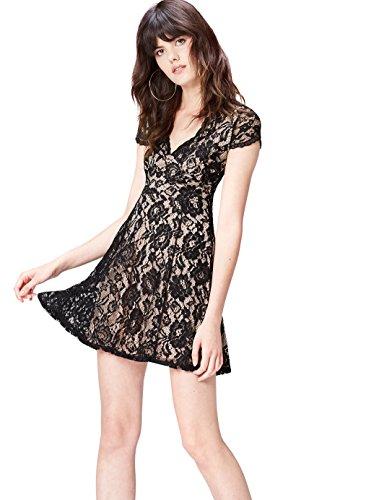 find. Kleid Damen kurz, tailliert, mit Spitze, V-Ausschnitt und Flügelärmeln, Schwarz (Black), 38 (Herstellergröße: Medium)