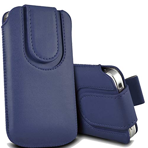 For Artfone CS181 Case, Protective Leather Pull Tab Slide In Top Flip Up Phone Case Pouch Sleeve Cover (Dark Blue)