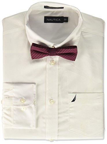Nautica Boy's Little Long Sleeve Dress Shirt with Tie, White/Stripe, 4
