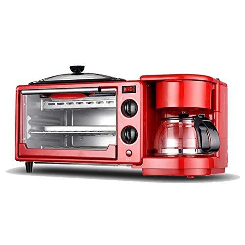 ykw Life Accessories Tostadoras Máquina de Desayuno multifunción Retro 3 en 1 Estación de Desayuno Cafetera Plancha
