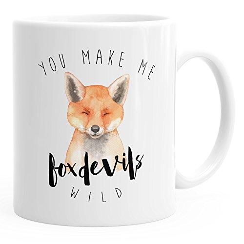 MoonWorks Kaffee-Tasse You Make me Fox Devils wild Liebe Denglisch Spruch lustig verliebt Love Quote Freund Freundin weiß Unisize