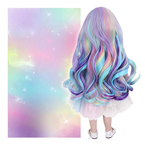 STfantasy Doll Wig for 18 Inches Doll Girls Ombre Rainbow Curly Synthetic Hair Girls Gift