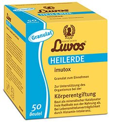 Luvos-Heilerde imutox Granulat Spar-Set 2x50 Beutel. Zur Unterstützung des Organismus bei der Körperentgiftung durch Bindung von Schadstoffen und Umweltgiften aus der Nahrung.