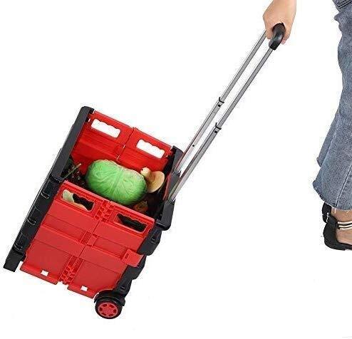 Hailiang Opvouwbare boodschappentrolley, opvouwbaar, voor mensen met levensmiddelen, met 2 wielen