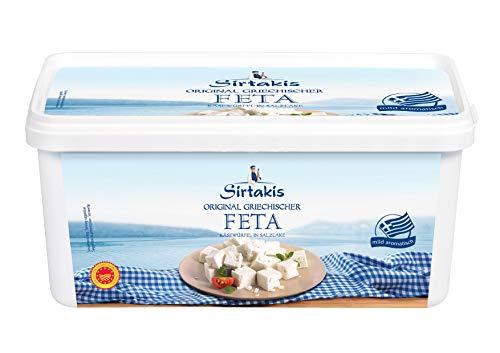 Sirtakis Feta Schafskäse gewürfelt - 1x 1.8kg Behälter - Schafkäse Fetakäse griechischer Feta Schaf Käse in Salzlake aus Griechenland 43% Fett i.Tr. mikrobielles Lab vegetarisch glutenfrei Halal