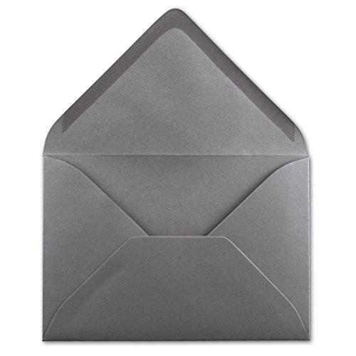 50 DIN B6 Briefumschläge Graphit-Grau - 12,5 x 17,5 cm - 80 g/m² Nassklebung Post-Umschläge ohne Fenster für Einladungen - Serie Colours-4-you