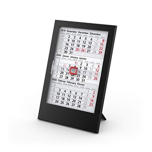 Geiger-Notes BOX 3-Monats-Tischkalender 2021 + 2022-12 x 18 cm - auswechselbare Kalenderblätter für 2 Jahre in schwarzer Kunststoff-Box mit Aufsteller