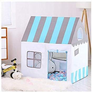 Floving可愛いキッズテント 子供テントピンク テントハウス子供 Kids Tent プレイテント テントおもちゃ 室内外使用可 秘密基地 隠れ家 知育玩具 おままごと 子供部屋 ブルーストライプ