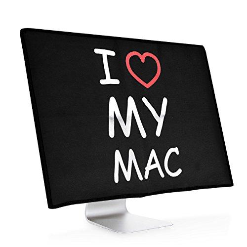 """kwmobile Cover Compatibile con Apple iMac 21.5\"""" - Protezione per Monitor PC Antipolvere per Schermo Computer - Custodia Protettiva - I Love My Mac Bianco/Rosso/Nero"""