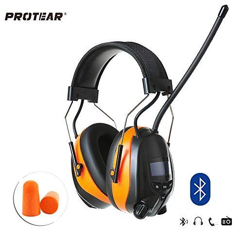 PROTEAR Wiederaufladbare Gehörschutz mit Radio FM/AM,Bluetooth,Eingebautem Mikrofon, SNR 30dB ( Orange)