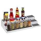Ausziehbar Gewürzständer,Gewürzregal für Küchenschrank,Verstellbar Gewürzregal mit 3 Ebenen,Küchenregal für Ordnung in der Küche,Gewürz Organizer aus Kunststoff,Küchen Speisekammer Gewürzaufbewahrung