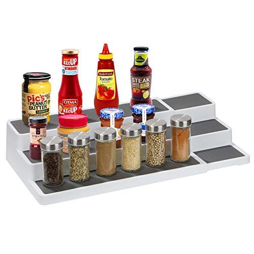 Soporte extensible para especias, para armarios de cocina, ajustable con 3 niveles, estantería de cocina para el orden en la cocina, organizador de especias, despensa, almacenamiento de especias