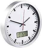 St. Leonhard Uhr: Analoge Wanduhr, digi. Datums- & Temperaturanzeige, Bahnhofsuhr-Design (Badezimmeruhren)