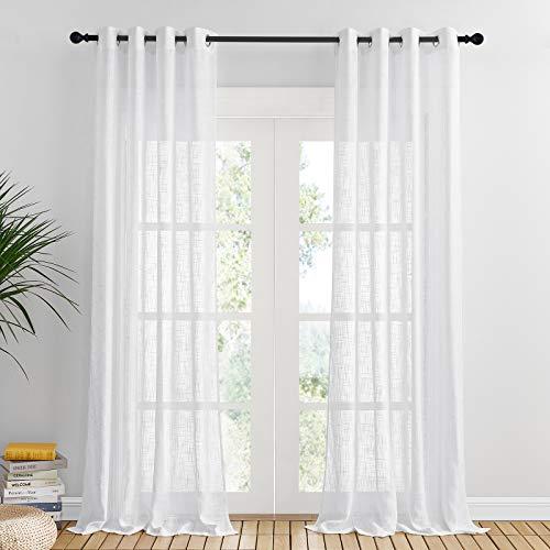 PONY DANCE Visillos Infantiles Blancos - Cortinas Largas Confeccionadas con Ollaos para Dormitorio Moderno/Visillos Lino Separador de Ambientes para Interiores, 2 Uds, 132 x 240 CM (An x L)