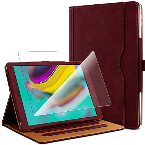 KARYLAX Pack of Burgundy Protective Case + 1 Tempered Glass Screen Protector for Samsung Galaxy Tab S5e 10.5 SM-T720