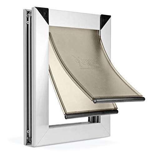 Small Dual Flap Heavy Duty Rustproof Dog Doors for Exterior Doors - Solid Aluminum Frame with Magnetic Closure on Polyurethane Flap All The Way Around for Optimal Seal to Keep Bad Weather Out