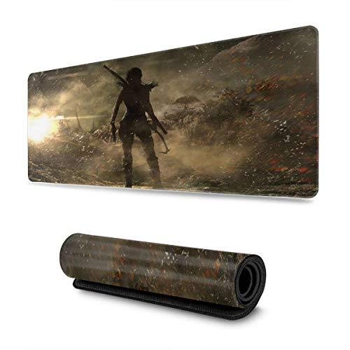 XCNGG Tomb Raider Mouse Pad Rettangolo Gomma antiscivolo Sport elettronico Oversize Large Mousepad Gaming Dedicato 11,8X31,5 pollici