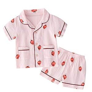 YUEGUANG 子供 パジャマ 男の子 女の子 半袖 2点セット 部屋着 普段着 ガーゼ 綿100% 可愛い 夏 ルームウェア 前開き 寝巻き 110 120 130 140 150 160cm (イチゴ, 120cm)