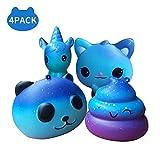 ARPDJK Squishy Spielzeug Set, 4 Pack Klein Glitter Galaxy Pu Antistress Sqishies,Langsam Steigender Kawaii Squeeze Squishys für Erwachsene Kinder Jungen Mädchen (Einhorn + Katze + Panda + Poo)