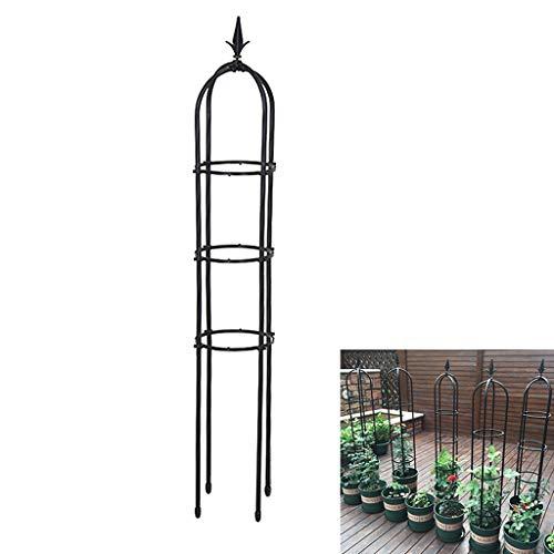 PLHMS Jardin Obelisk Trellis, Support de Soutien Fleur Rose Ronde Treillage métallique pour Grimpantes et Plantes, Présentoir Fournitures Jardin Jardinage Cadre Rack d'escalade Planteur,Noir