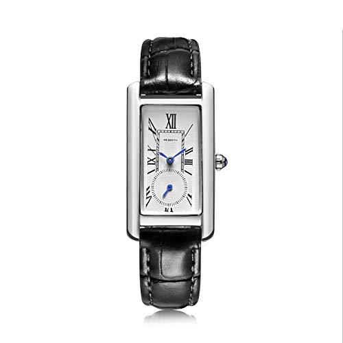 yuge Reloj de cuarzo para mujer, elegante, estilo retro, color negro