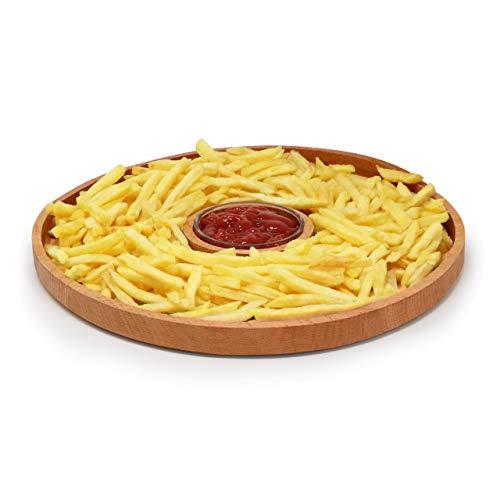 Piatto da antipasto rotondo in legno con ciotola in vetro con salsa di immersione   Piatto da portata, vassoio   Colazione, pranzo, cena   Compleanno, festa, bar, ristorante, hotel