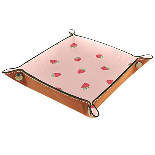 AITAI Bandeja de valet de piel vegana organizador de mesita de noche para escritorio, plato de almacenamiento Catchall Mini fresas
