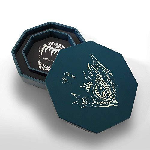 Mythcarvers Würfelablage Frost Blue – Würfelablage | Filz Würfelablage kompatibel mit Dungeons und Drachen & RPG Spielen | DND Würfelbox | Würfelrolle | DND Zubehör | DND Würfelablage