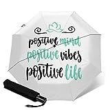 Positive Mind Vibes and Life Paraguas de viaje, resistente al viento, paraguas de viaje, apertura y cierre automático, compacto Blanco Vibras mentales positivas y vida talla única