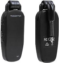 Queenser Sistema de receptor transmissor baixo profissional de guitarra sem fio transmissor de áudio portátil recarregável...