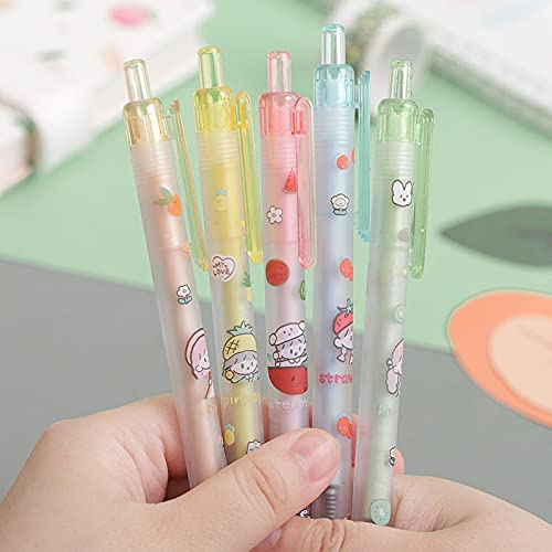 PPuujia Lote de 5 bolígrafos mecánicos de gel de frutas de 0,5 mm, para escuela, oficina, suministros de escritura, regalo (color de tinta: negro)